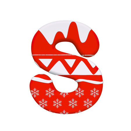 Christmas letter S - Capital 3d Xmas font isolated on white background. This alphabet is perfect for creative illustrations related but not limited to Christmas, Santa Claus, winter...