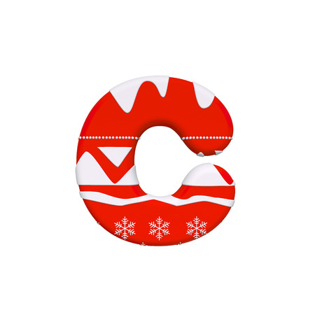 Christmas letter C - Small 3d Xmas font isolated on white background. This alphabet is perfect for creative illustrations related but not limited to Christmas, Santa Claus, winter... Stock fotó - 116166854