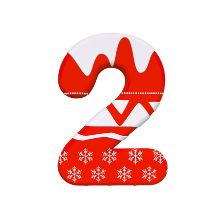Christmas number 2 - 3d Xmas digit isolated on white background. This alphabet is perfect for creative illustrations related but not limited to Christmas, Santa Claus, winter...