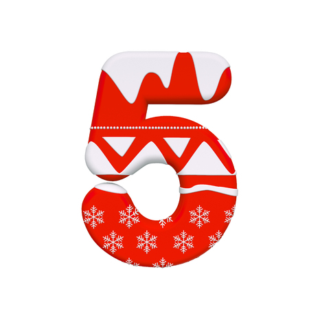Christmas number 5 - 3d Xmas digit isolated on white background. This alphabet is perfect for creative illustrations related but not limited to Christmas, Santa Claus, winter... Stock Photo
