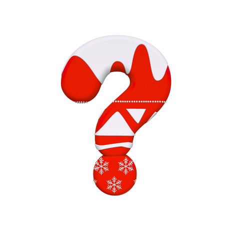 Christmas interrogation point - 3d Xmas symbol isolated on white background. this alphabet is perfect for creative illustrations related but not limited to Christmas, Santa Claus, winter... Banco de Imagens