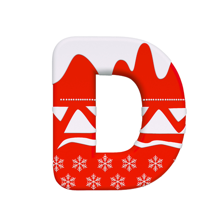 Christmas letter D - Uppercase 3d Xmas font isolated on white background. This alphabet is perfect for creative illustrations related but not limited to Christmas, Santa Claus, winter...