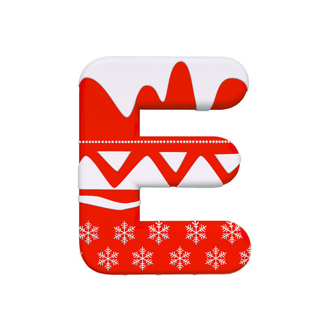 Christmas letter E - large 3d Xmas font isolated on white background. This alphabet is perfect for creative illustrations related but not limited to Christmas, Santa Claus, winter...