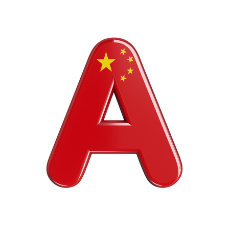 China flag letter A - Capital 3d chinese font isolated on white background. This alphabet is perfect for creative illustrations related but not limited to China, Beijing, Asia...