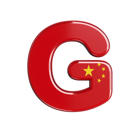 China flag letter G - large 3d chinese font isolated on white background. This alphabet is perfect for creative illustrations related but not limited to China, Beijing, Asia... Stok Fotoğraf