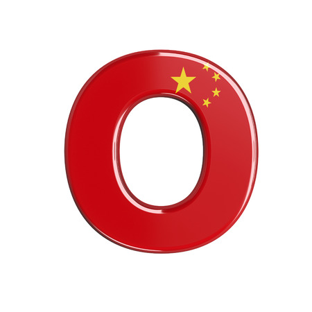 China flag letter O - Capital 3d chinese font isolated on white background. This alphabet is perfect for creative illustrations related but not limited to China, Beijing, Asia...