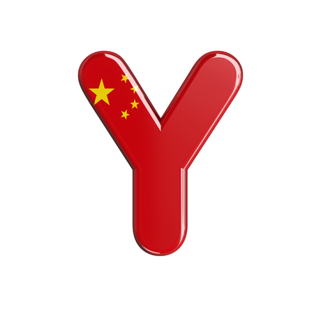 China flag letter Y - large 3d chinese font isolated on white background. This alphabet is perfect for creative illustrations related but not limited to China, Beijing, Asia... Stock fotó