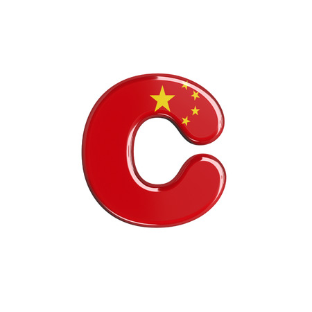 China flag letter C - Small 3d chinese font isolated on white background. This alphabet is perfect for creative illustrations related but not limited to China, Beijing, Asia... Stok Fotoğraf