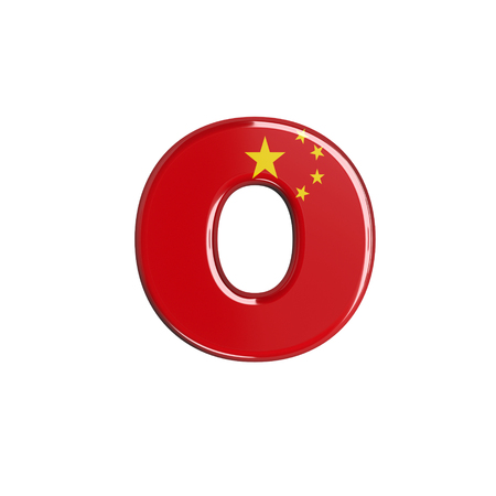 China flag letter O - Lowercase 3d chinese font isolated on white background. This alphabet is perfect for creative illustrations related but not limited to China, Beijing, Asia... Stok Fotoğraf