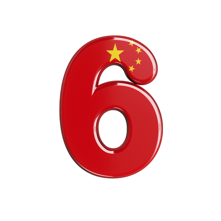 China flag number 6 - 3d chinese digit isolated on white background. This alphabet is perfect for creative illustrations related but not limited to China, Beijing, Asia...