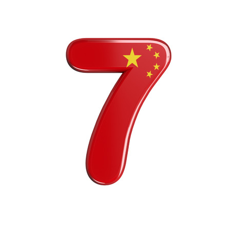 China flag number 7 - 3d chinese digit isolated on white background. This alphabet is perfect for creative illustrations related but not limited to China, Beijing, Asia... Stok Fotoğraf