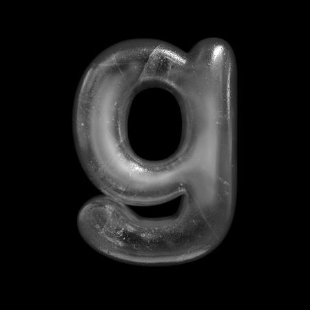 Ice letter g - Lowercase 3d Winter font isolated on black background. Stock fotó