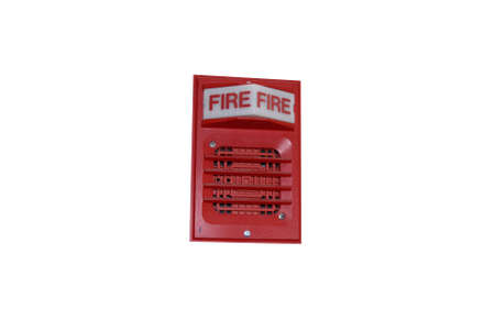 a red fire alarm on a white background photo