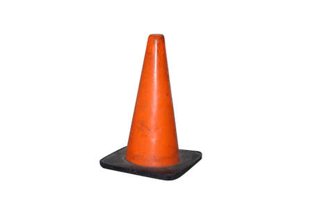roadwork: an orange traffic cone on a white background