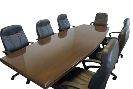 table: Conference room table with chairs on white background