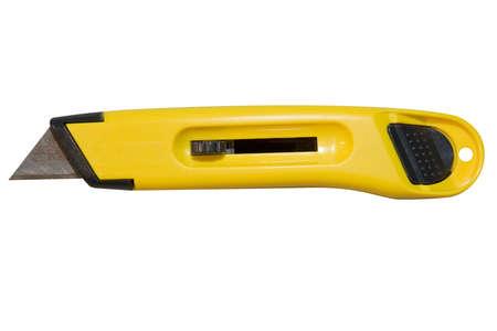 utility knife: Yellow utility knife on white background