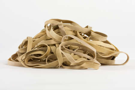 Rubber band pile on white background