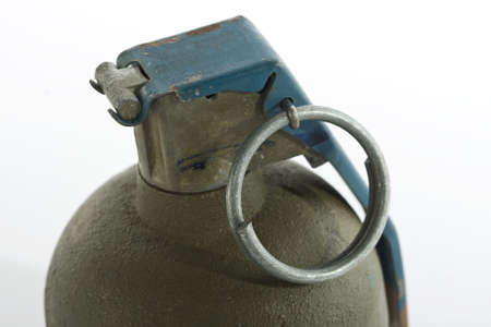fragmentation: hand grenade close up isolated on white background