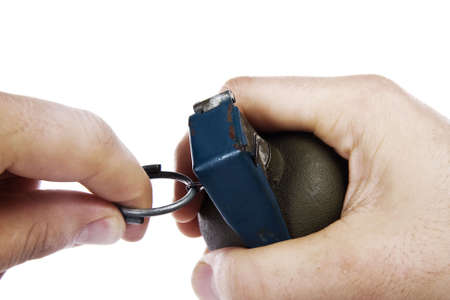 hand grenade pin pull isolated white background Stock Photo - 5090966