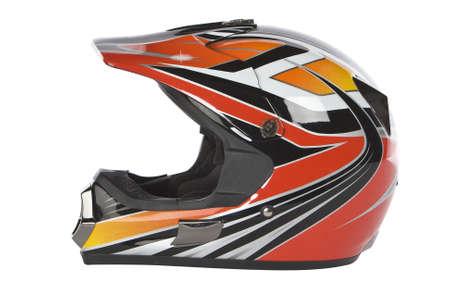 motorcross: motocross moto casco aisladas sobre fondo blanco