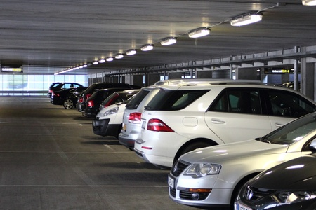 Cars in indoor parkinglot at airport