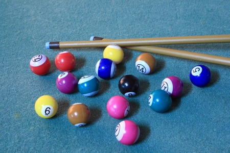 Pool balls on blue cloth in disorder with cues photo