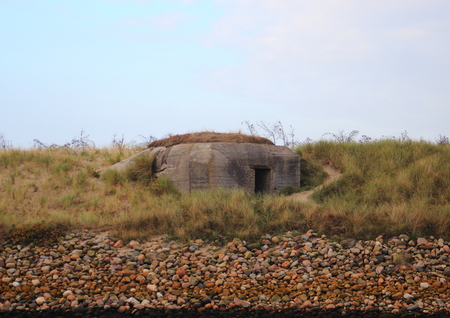 outpost: German worldwar outpost in sand dune at west coast Stock Photo