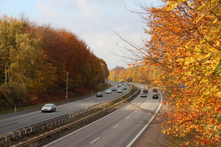 Busy highway through autumn forest with beautiful colors photo