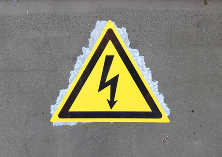 High voltage sign on a transformer station photo