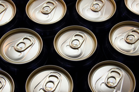 View of beer cans with silver top