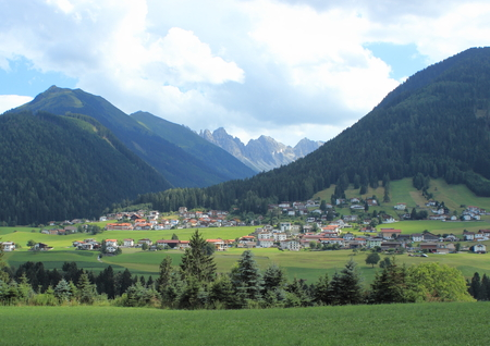 trecking: Village and hay field in the Austrian Alps