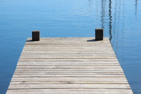 landing stage: Bathing jetty and landing stage for boats with blue water