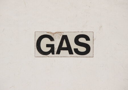 local supply: Sign med text Gas on gas installation Stock Photo