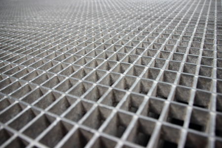 grate: Perspective of Grey Galvanized Steel Grate Square Grid