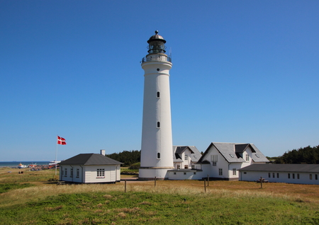 hirtshals: White Lighthouse Landmark at the world war museum in Hirtshals
