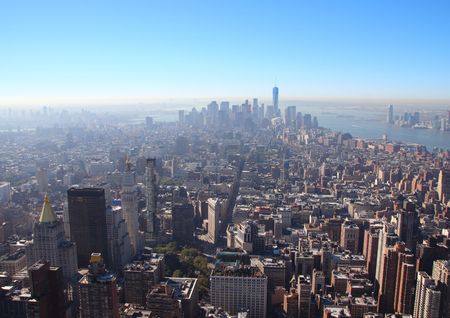 Manhattan New York Downtown South Skyline in Morning Smog Stock Photo
