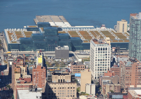 hudson river: Javits Conference Center New York in Aerial Perspective with Hudson River in Background