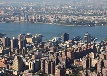 hudson river: Hudson River with Skyline View of Manhattan New York in Aerial Perspective