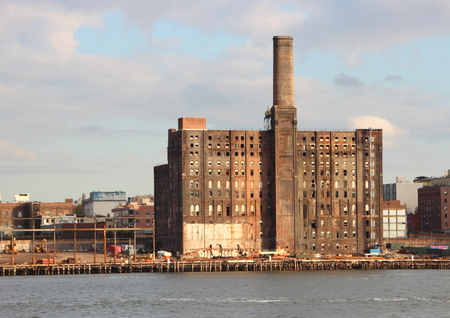 abandon: Abandon Old Factory in New York at Pier with East River in Foreground