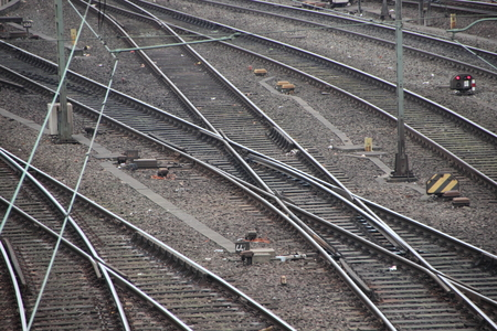 railroad tracks: Aerial view of Railroad Tracks Junction with Switch and Crossing Lines