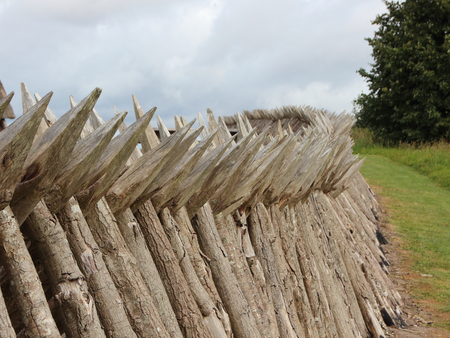 Wooden Pole Palisade at Danish Dybboel War Museum Stock Photo