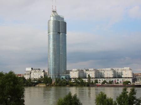 Vienna Millenium City Business District Landmark with River Donau reflection