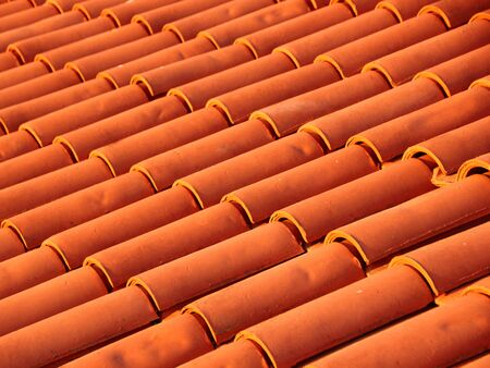 New Shingle Tile Brick Roof in Red Colors Stock Photo