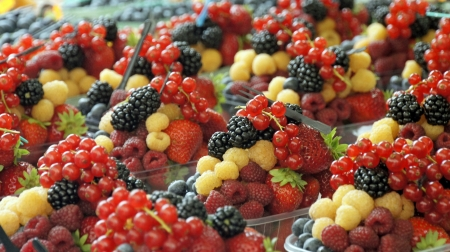 fresh fruit snack with berries photo