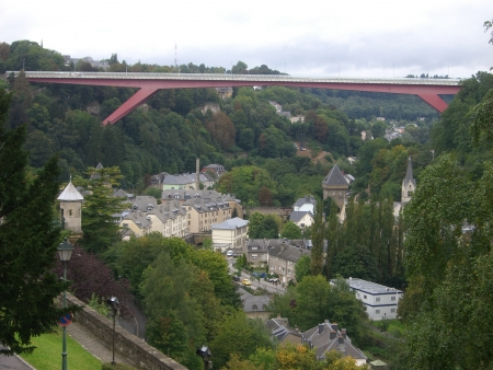 brige: impressions from wuropean city luxembourg in autumn Stock Photo