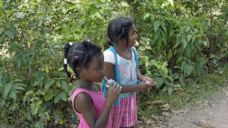 developing country: poor child growh up in poverty, dominican republic 2014