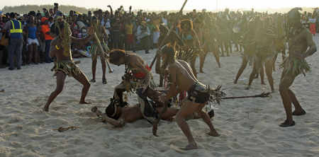 chica: BOCA CHICA, DOMINICAN REPUBLIC, MARCH 2014: Resident people celebrate Caribbean Carnival on the Beach