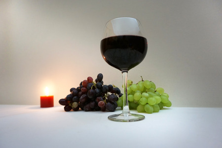coziness: german glass of wine for nice evening Stock Photo