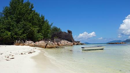 tropical beach on curieuse island