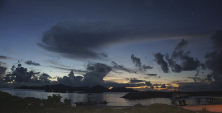 la digue: sunset on la digue island Stock Photo